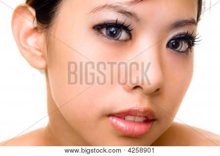 Asian Young Woman With Beautiful Eyes