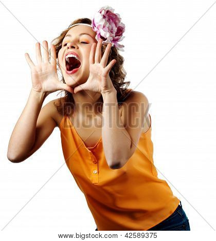 Young Blonde Woman Shout And Scream Using Her Hands As Tube