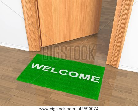 Opened Door With Welcome Rug On The Floor