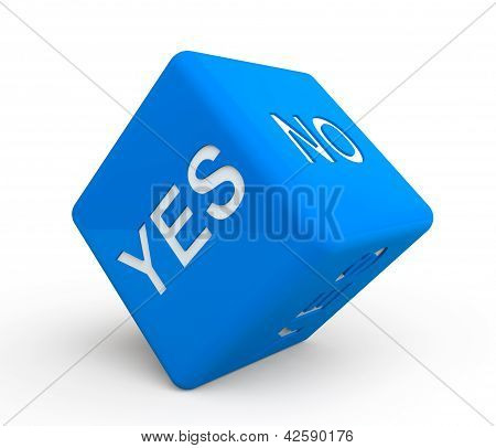 Blue Dice With Yes And No Sign