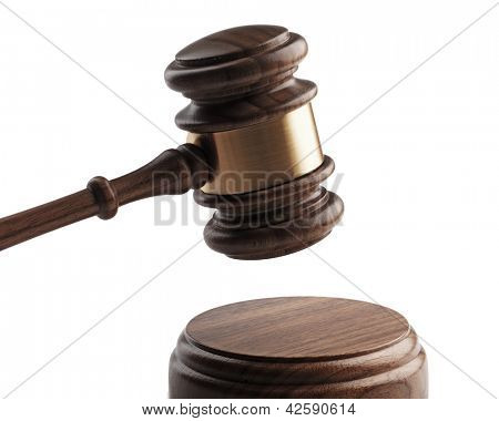 A wooden gavel and soundboard isolated on white background.