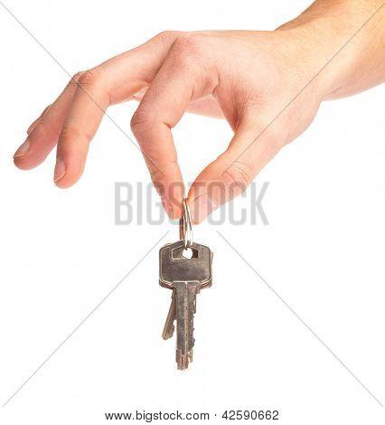 Hand Holding Keys Isolated On White Background