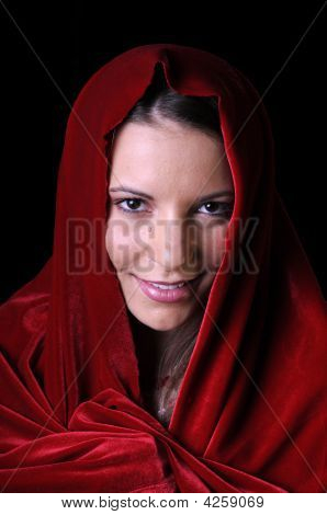 Beautiful Young Woman With Shawl