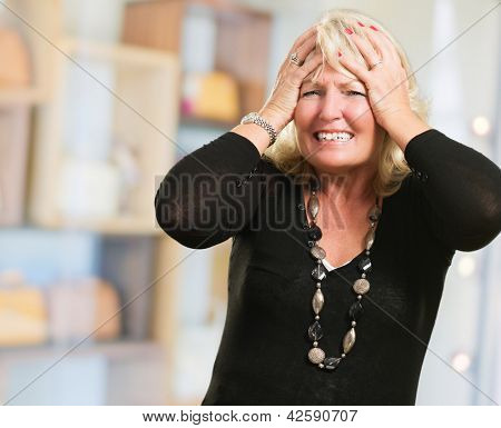 Portrait Of Stressed Mature Woman at a mall
