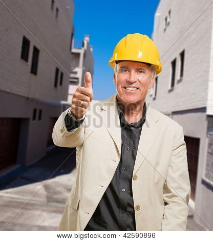 Happy Architect Showing Thumb Up Sign, outdoor