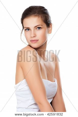 Close-up Portrait Of Beautiful Young Woman With Healthy Clean Skin On A Face