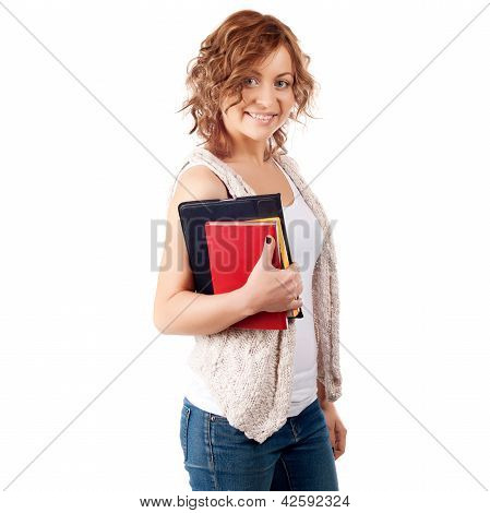 Happy Young Student Girl Holding Books, Study, Education, Knowledge, Goal Concept