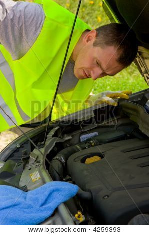Man Checking Engine