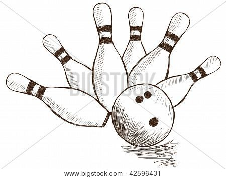 Bowling Pins And Ball