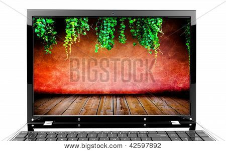 Laptop With Red Wall