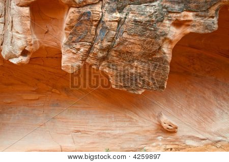 Red Rock Formation On Canyon Wall
