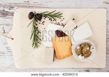 Cheese And Olives. Luxurious Appetizer.