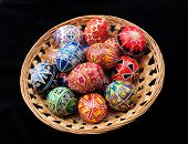 Basket of Ukrainian Easter eggs