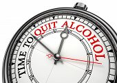 image of quit  - time to quit drinking alcohol concept clock on white background with red and black words - JPG