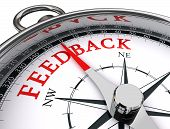 pic of reaction  - feedback red word on conceptual compass on white background - JPG
