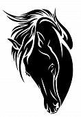 picture of bent over  - black horse head vector design  - JPG