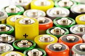 stock photo of waste disposal  - Composition with variety of alkaline batteries - JPG