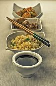 stock photo of chinese menu  - Chinese food composition with cantonese rice - JPG