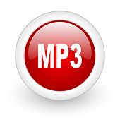 mp3 red circle glossy web icon on white background