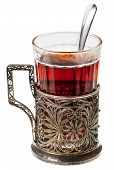 stock photo of melchior  - black tea in retro glass with teaspoon and glass - JPG