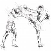 foto of muay thai  - A hand drawn illustration of Muay Thai  - JPG