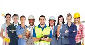 stock photo of arms race  - Group of smiling people with different jobs standing in line on white background - JPG