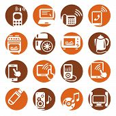 image of televisor  - Elegant Colorful Electronic Devices Icons Set Created For Mobile - JPG