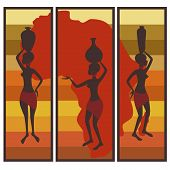 image of triptych  - Vector picture of african american woman on colorful striped background  Triptych - JPG