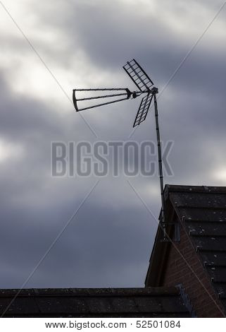 Tv Antenna Or Aerial On Cloudy Day
