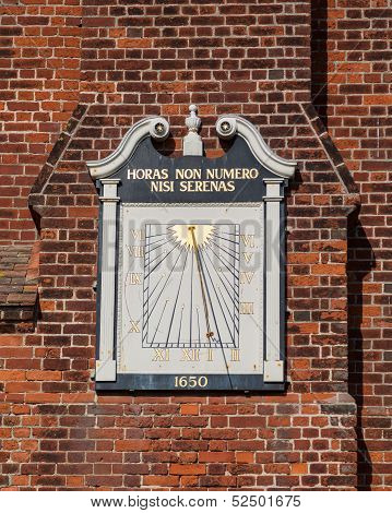 Ancient Sundial On Moot Hall In Aldeburgh