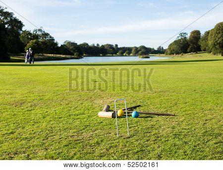 Croquet Set On English Lawn