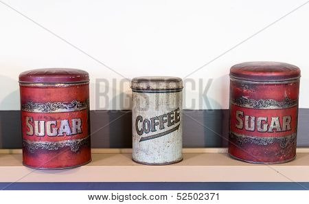 Three Tin Cans Coffee And Sugar