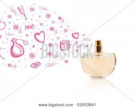 Colored sketches coming out from beautiful perfume bottle