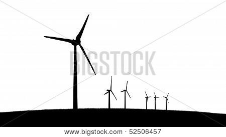 Group Of Aeolian Windmills Silhouettes