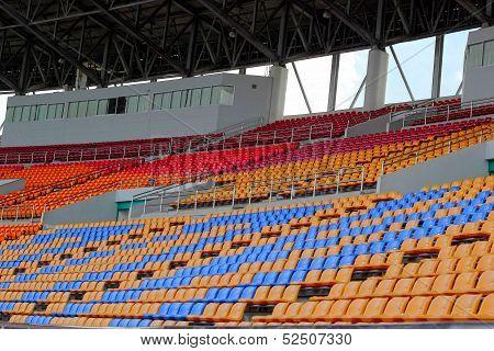 Seat Grandstand In An Empty Stadium.
