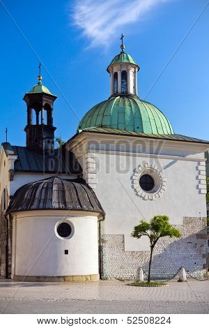 baroque Church of St. Wojciech on main market square in cracow in poland