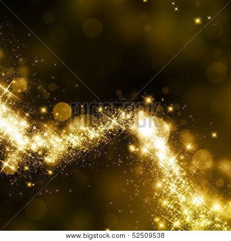 Polvo de oro rutilantes estrellas camino fondo
