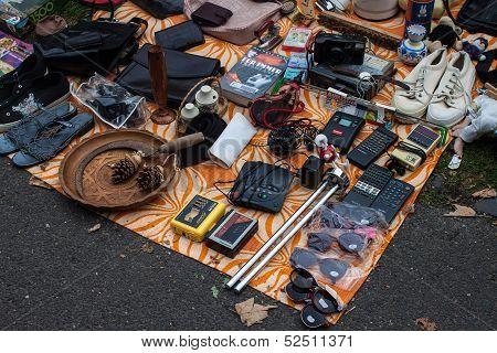 Merchandise exposed at the flea market in Bonn