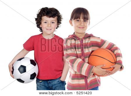 Two Adorable Children With  Balls
