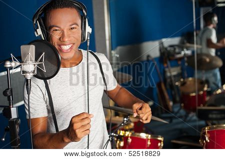 Singer Recording His New Track In Studio