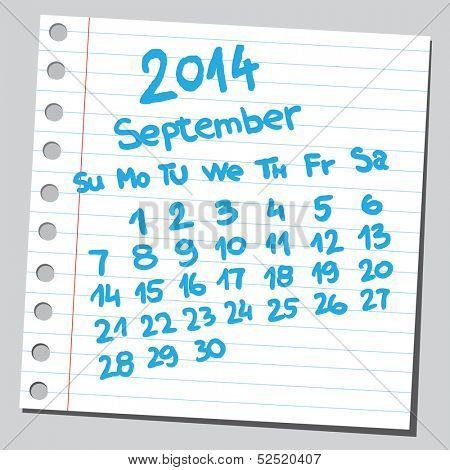 Calendar 2014 september (sketch style)