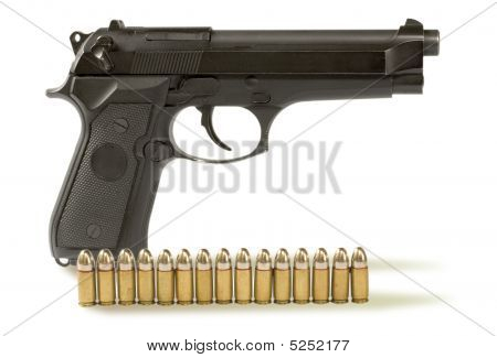 Handgun  And 	fifteen Bullets