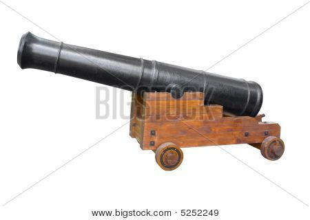 Ancient Cannon, Isolation On A White Background.
