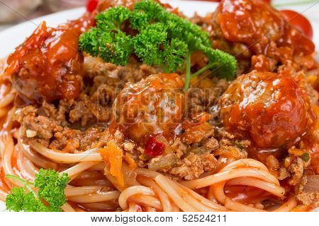 Italian Dish Spaghetti Bolognese With Beef Meatballs