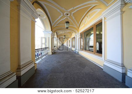 Open gallery of the second floor of Gostiny Dvor, St. Petersburg, Russia