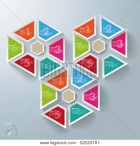 Three Hexagon Triangles With Centre