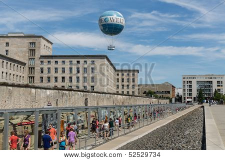 Remains of Berlin Wall and Welt Balloon