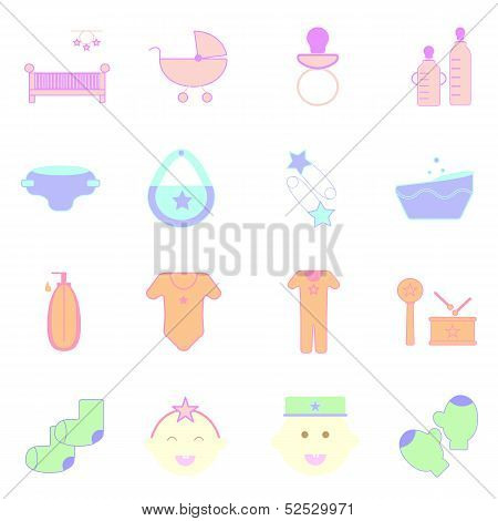 Baby Pastel Color Icons Set On White Background