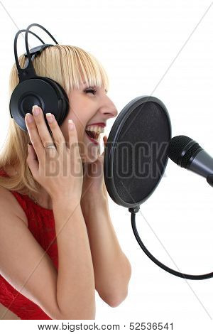 Woman Singing Over White