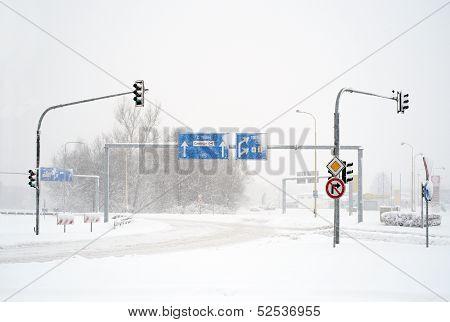 Empty winter road in blizzard
